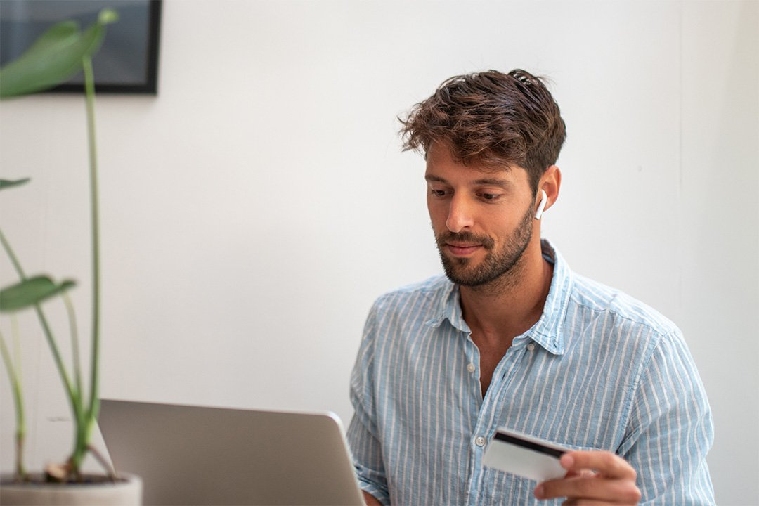 Man buying online with credit card