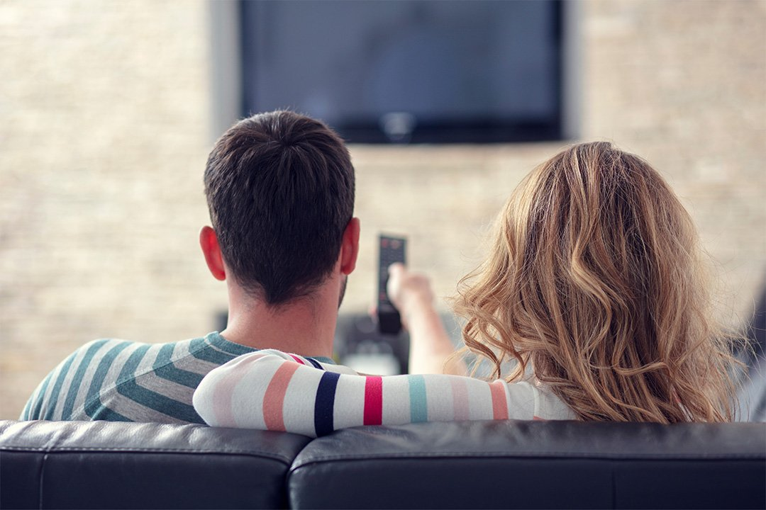 Couple watching Connected TV