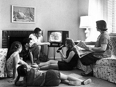 Family Watching Television circa 1958